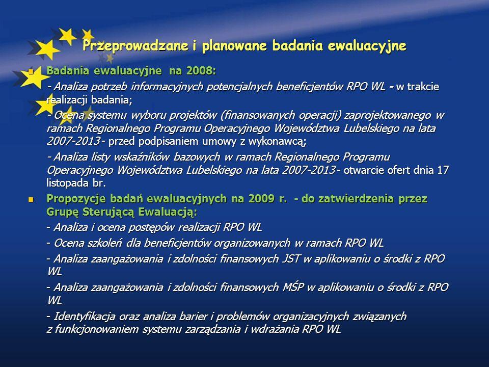 Przeprowadzane i planowane badania ewaluacyjne Badania ewaluacyjne na 2008: Badania ewaluacyjne na 2008: - Analiza potrzeb informacyjnych potencjalnych beneficjentów RPO WL - w trakcie realizacji badania; - Ocena systemu wyboru projektów (finansowanych operacji) zaprojektowanego w ramach Regionalnego Programu Operacyjnego Województwa Lubelskiego na lata 2007-2013 - przed podpisaniem umowy z wykonawcą; - Analiza listy wskaźników bazowych w ramach Regionalnego Programu Operacyjnego Województwa Lubelskiego na lata 2007-2013 - otwarcie ofert dnia 17 listopada br.