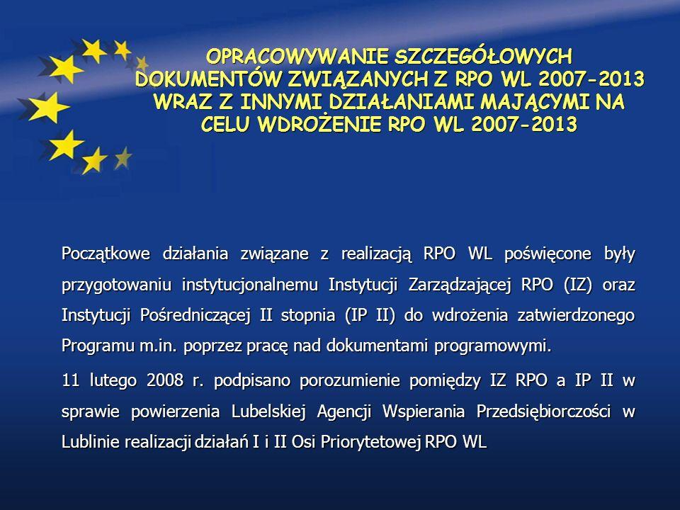 OPRACOWYWANIE SZCZEGÓŁOWYCH DOKUMENTÓW ZWIĄZANYCH Z RPO WL 2007-2013 WRAZ Z INNYMI DZIAŁANIAMI MAJĄCYMI NA CELU WDROŻENIE RPO WL 2007-2013 Początkowe działania związane z realizacją RPO WL poświęcone były przygotowaniu instytucjonalnemu Instytucji Zarządzającej RPO (IZ) oraz Instytucji Pośredniczącej II stopnia (IP II) do wdrożenia zatwierdzonego Programu m.in.