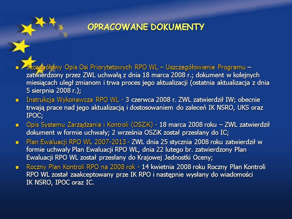 OPRACOWANE DOKUMENTY Szczegółowy Opis Osi Priorytetowych RPO WL – Uszczegółowienie Programu – zatwierdzony przez ZWL uchwałą z dnia 18 marca 2008 r.; dokument w kolejnych miesiącach uległ zmianom i trwa proces jego aktualizacji (ostatnia aktualizacja z dnia 5 sierpnia 2008 r.); Szczegółowy Opis Osi Priorytetowych RPO WL – Uszczegółowienie Programu – zatwierdzony przez ZWL uchwałą z dnia 18 marca 2008 r.; dokument w kolejnych miesiącach uległ zmianom i trwa proces jego aktualizacji (ostatnia aktualizacja z dnia 5 sierpnia 2008 r.); Instrukcja Wykonawcza RPO WL - 3 czerwca 2008 r.