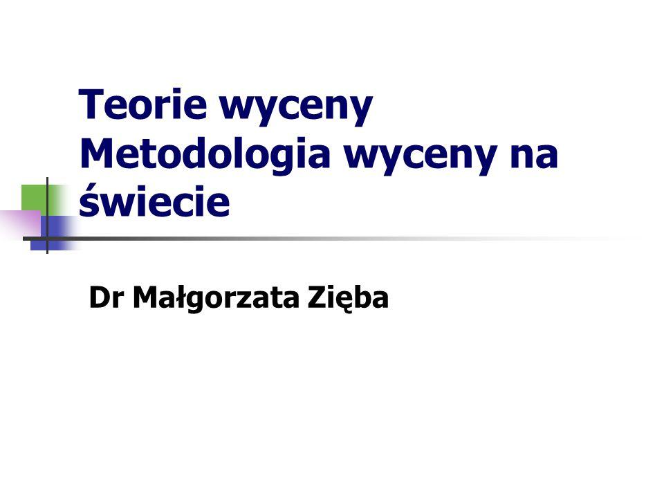 Teorie wyceny Metodologia wyceny na świecie Dr Małgorzata Zięba