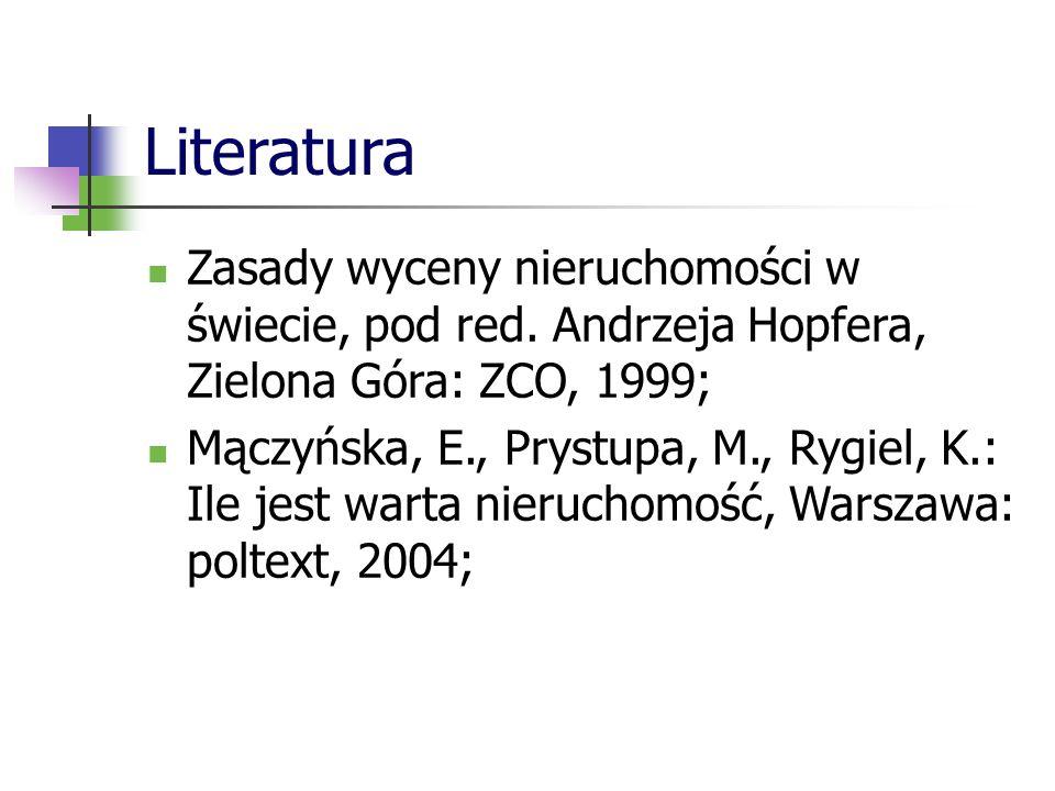 Literatura Zasady wyceny nieruchomości w świecie, pod red.