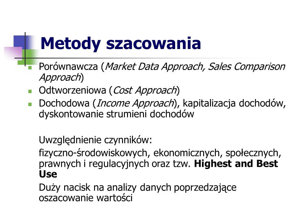 Metody szacowania Porównawcza (Market Data Approach, Sales Comparison Approach) Odtworzeniowa (Cost Approach) Dochodowa (Income Approach), kapitalizacja dochodów, dyskontowanie strumieni dochodów Uwzględnienie czynników: fizyczno-środowiskowych, ekonomicznych, społecznych, prawnych i regulacyjnych oraz tzw.