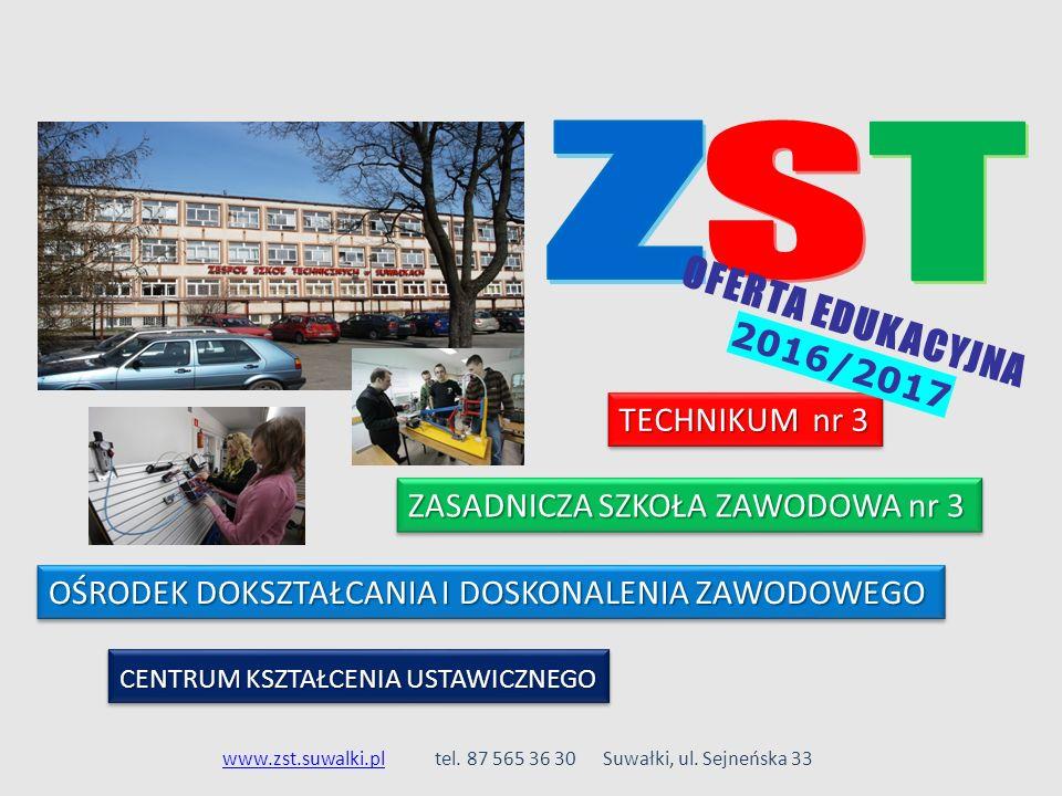 ZASADNICZA SZKOŁA ZAWODOWA nr 3 TECHNIKUM nr 3 OŚRODEK DOKSZTAŁCANIA I DOSKONALENIA ZAWODOWEGO www.zst.suwalki.plwww.zst.suwalki.pltel. 87 565 36 30 S