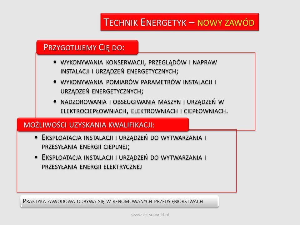 www.zst.suwalki.pl P RAKTYKA ZAWODOWA ODBYWA SIĘ W RENOMOWANYCH PRZEDSIĘBIORSTWACH T ECHNIK E NERGETYK – NOWY ZAWÓD