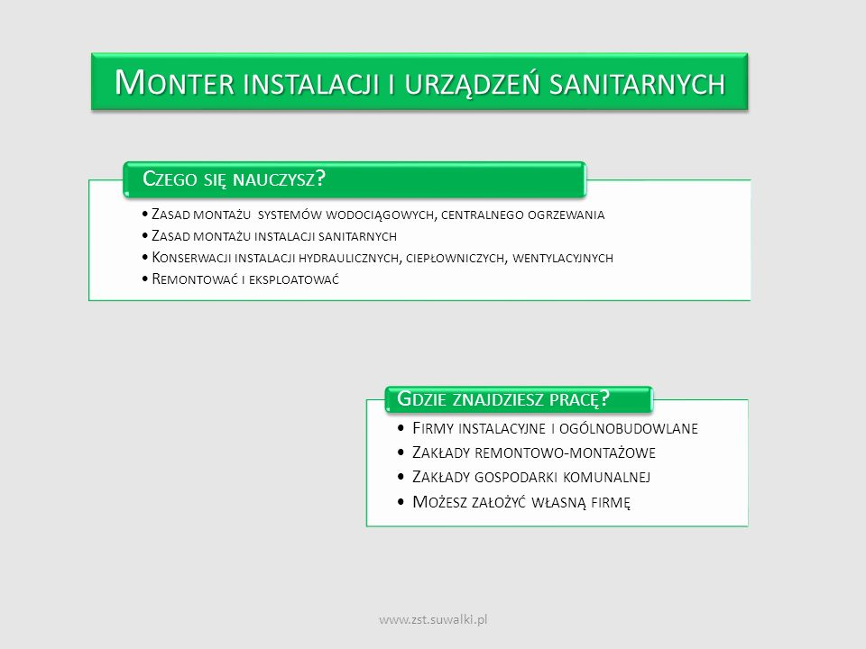 www.zst.suwalki.pl M ONTER INSTALACJI I URZĄDZEŃ SANITARNYCH Z ASAD MONTAŻU SYSTEMÓW WODOCIĄGOWYCH, CENTRALNEGO OGRZEWANIA Z ASAD MONTAŻU INSTALACJI S