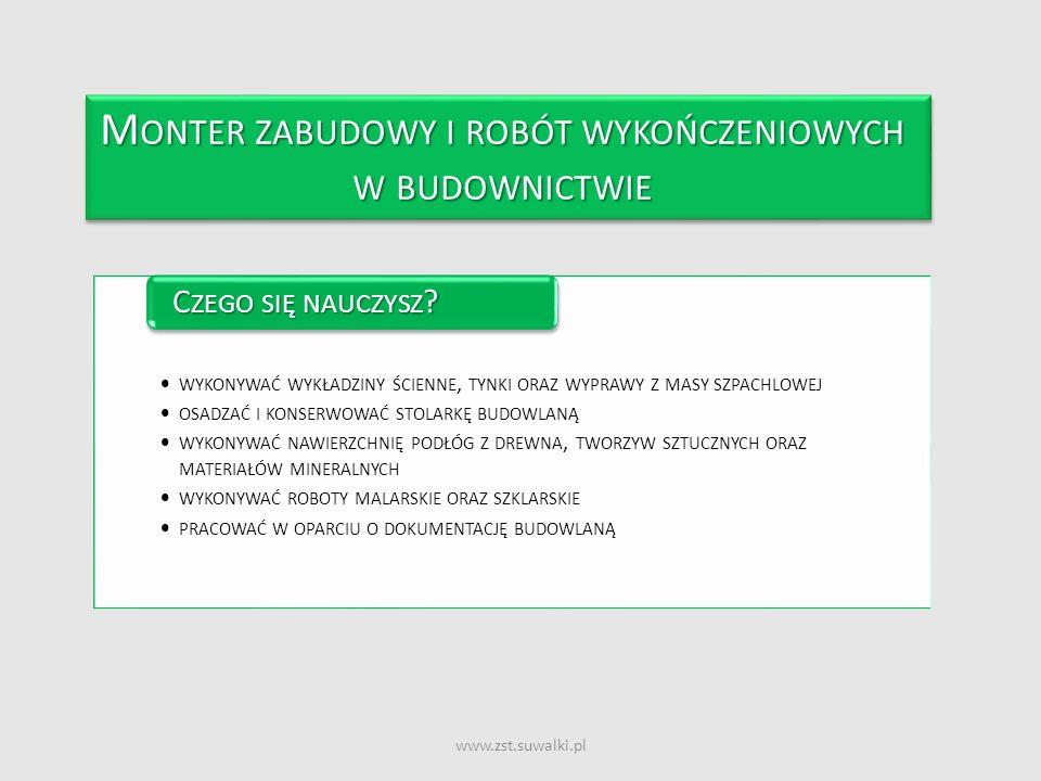 www.zst.suwalki.pl M ONTER ZABUDOWY I ROBÓT WYKOŃCZENIOWYCH W BUDOWNICTWIE M ONTER ZABUDOWY I ROBÓT WYKOŃCZENIOWYCH W BUDOWNICTWIE WYKONYWAĆ WYKŁADZIN