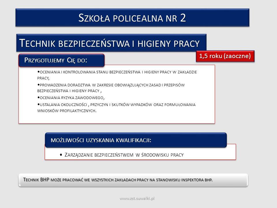 www.zst.suwalki.pl T ECHNIK BEZPIECZEŃSTWA I HIGIENY PRACY T ECHNIK BHP MOŻE PRACOWAĆ WE WSZYSTKICH ZAKŁADACH PRACY NA STANOWISKU INSPEKTORA BHP. T EC