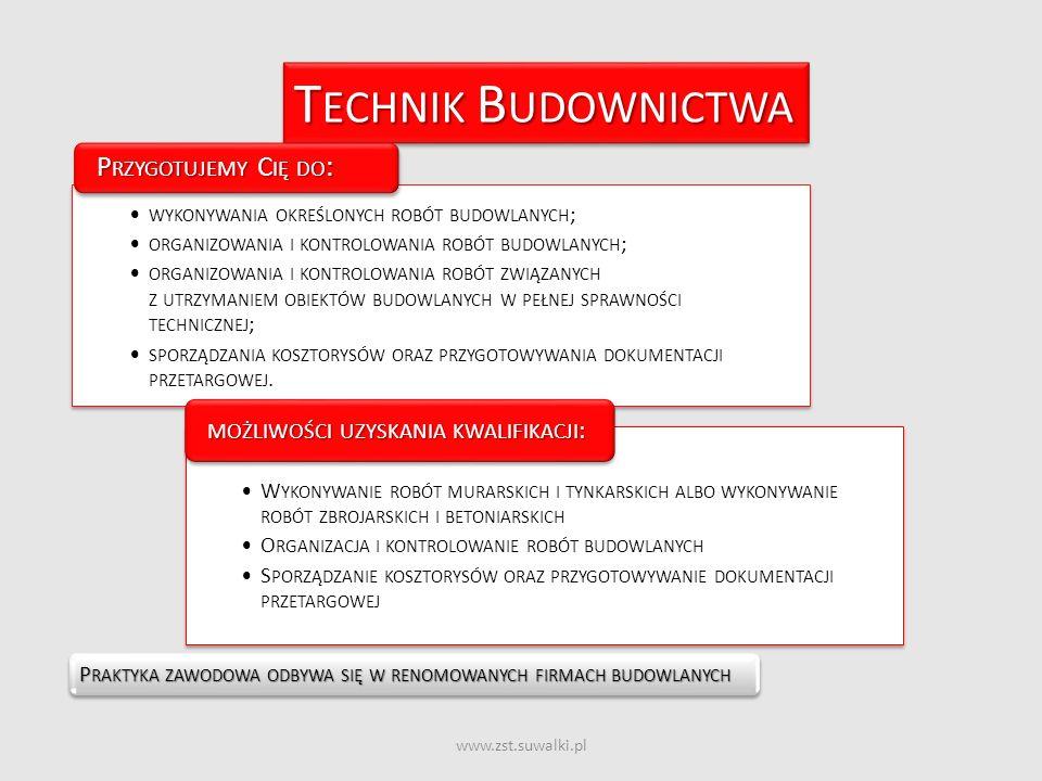 www.zst.suwalki.pl T ECHNIK B UDOWNICTWA P RAKTYKA ZAWODOWA ODBYWA SIĘ W RENOMOWANYCH FIRMACH BUDOWLANYCH WYKONYWANIA OKREŚLONYCH ROBÓT BUDOWLANYCH ;