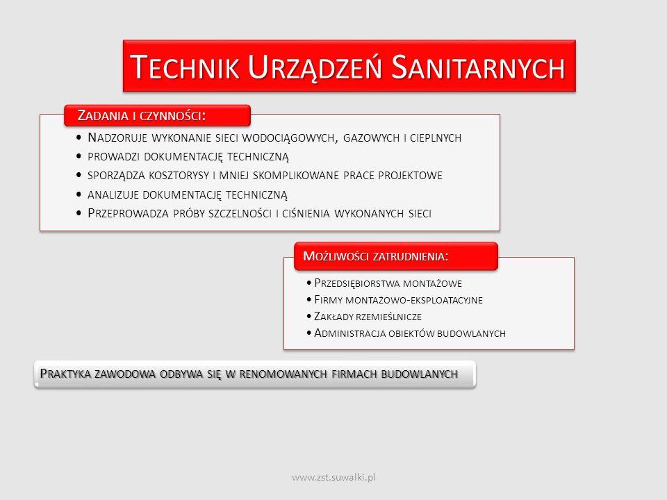 www.zst.suwalki.pl T ECHNIK U RZĄDZEŃ S ANITARNYCH P RAKTYKA ZAWODOWA ODBYWA SIĘ W RENOMOWANYCH FIRMACH BUDOWLANYCH N ADZORUJE WYKONANIE SIECI WODOCIĄ
