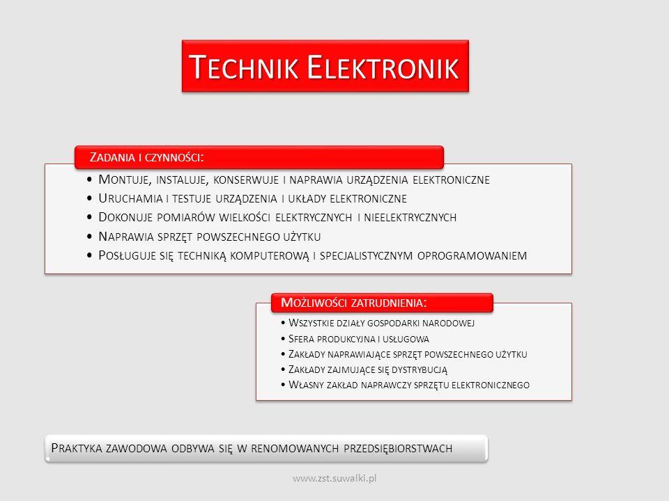 www.zst.suwalki.pl T ECHNIK E LEKTRONIK P RAKTYKA ZAWODOWA ODBYWA SIĘ W RENOMOWANYCH PRZEDSIĘBIORSTWACH M ONTUJE, INSTALUJE, KONSERWUJE I NAPRAWIA URZ