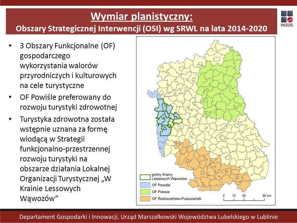 """Wymiar planistyczny: Obszary Strategicznej Interwencji (OSI) wg SRWL na lata 2014-2020 3 Obszary Funkcjonalne (OF) gospodarczego wykorzystania walorów przyrodniczych i kulturowych na cele turystyczne OF Powiśle preferowany do rozwoju turystyki zdrowotnej Turystyka zdrowotna została wstępnie uznana za formę wiodącą w Strategii funkcjonalno-przestrzennej rozwoju turystyki na obszarze działania Lokalnej Organizacji Turystycznej """"W Krainie Lessowych Wąwozów"""