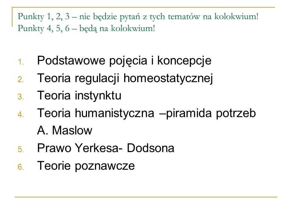 Punkty 1, 2, 3 – nie będzie pytań z tych tematów na kolokwium.