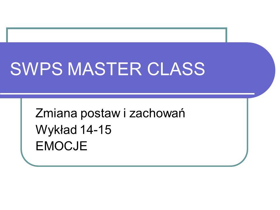 SWPS MASTER CLASS Zmiana postaw i zachowań Wykład 14-15 EMOCJE
