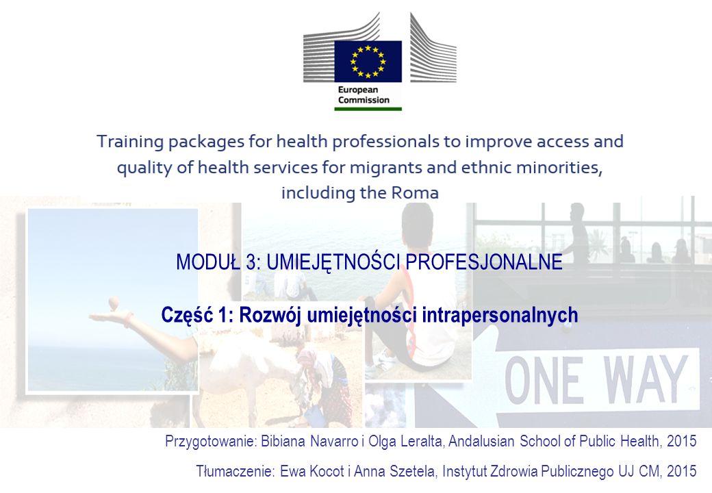 MODUŁ 3: UMIEJĘTNOŚCI PROFESJONALNE Część 1: Rozwój umiejętności intrapersonalnych Przygotowanie: Bibiana Navarro i Olga Leralta, Andalusian School of