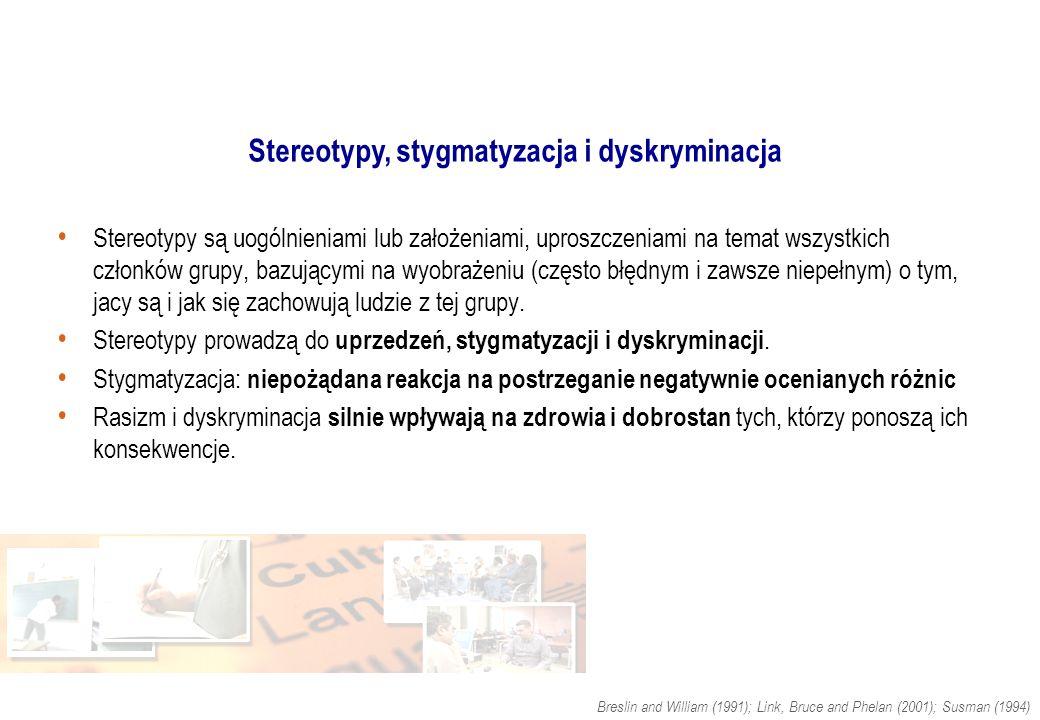 Stereotypy, stygmatyzacja i dyskryminacja Stereotypy są uogólnieniami lub założeniami, uproszczeniami na temat wszystkich członków grupy, bazującymi n