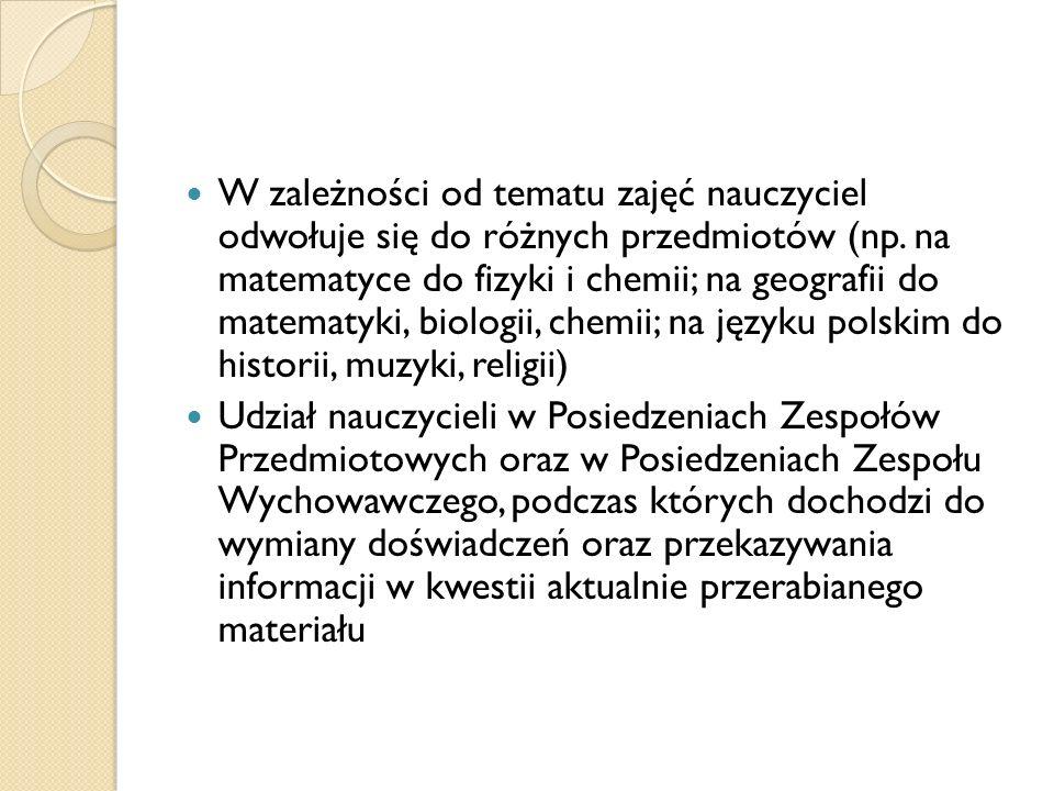 W zależności od tematu zajęć nauczyciel odwołuje się do różnych przedmiotów (np.