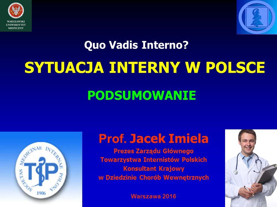SYTUACJA INTERNY W POLSCE Prof. Jacek Imiela Prezes Zarządu Głównego Towarzystwa Internistów Polskich Konsultant Krajowy w Dziedzinie Chorób Wewnętrzn