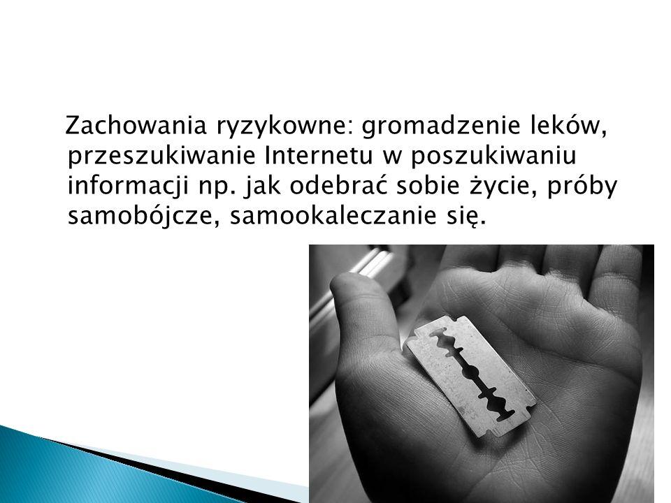 Zachowania ryzykowne: gromadzenie leków, przeszukiwanie Internetu w poszukiwaniu informacji np.