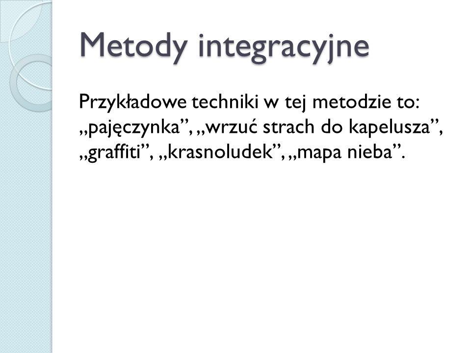 """Metody integracyjne Przykładowe techniki w tej metodzie to: """"pajęczynka"""", """"wrzuć strach do kapelusza"""", """"graffiti"""", """"krasnoludek"""", """"mapa nieba""""."""