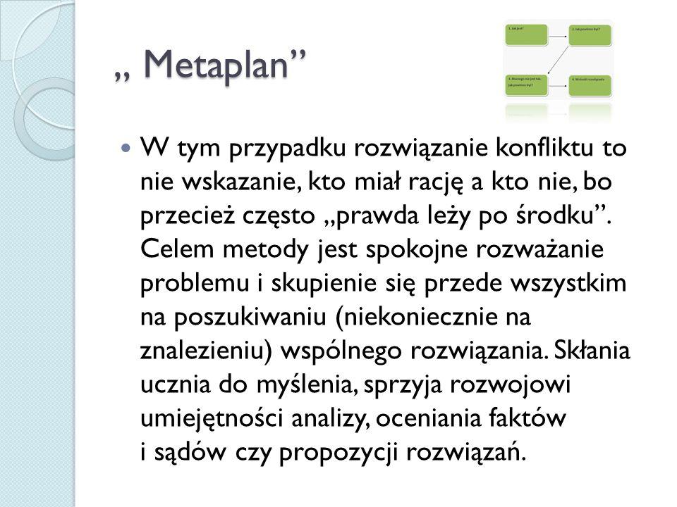 """"""" Metaplan"""" W tym przypadku rozwiązanie konfliktu to nie wskazanie, kto miał rację a kto nie, bo przecież często """"prawda leży po środku"""". Celem metody"""