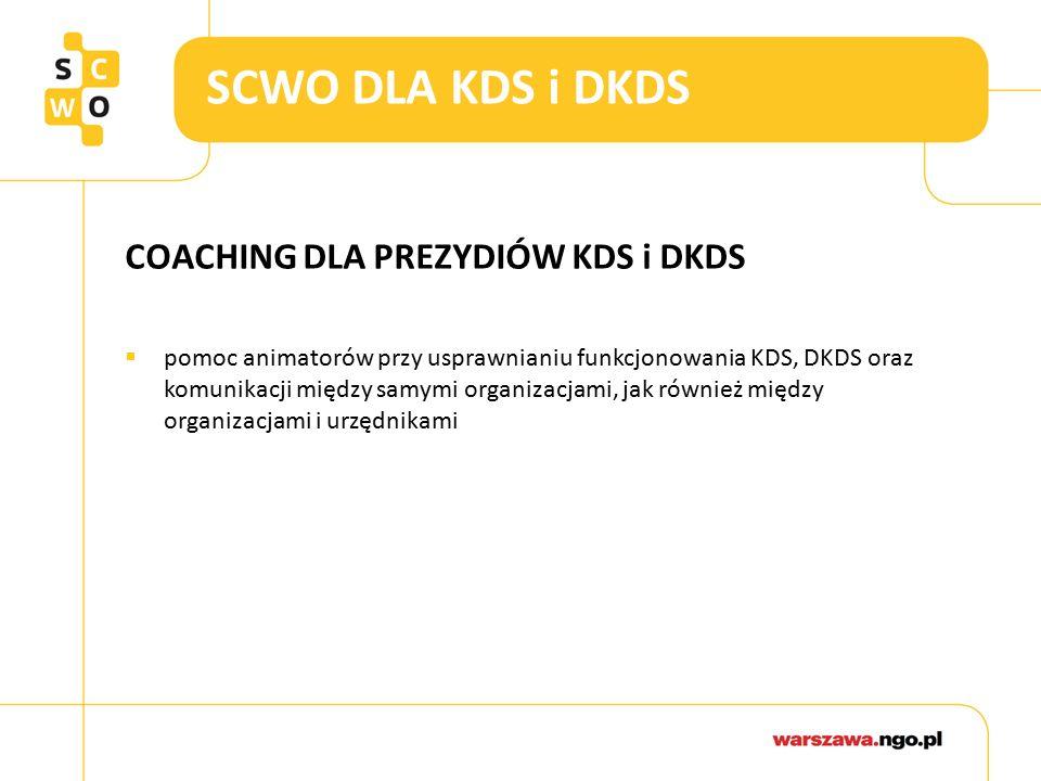SCWO DLA KDS i DKDS COACHING DLA PREZYDIÓW KDS i DKDS  pomoc animatorów przy usprawnianiu funkcjonowania KDS, DKDS oraz komunikacji między samymi organizacjami, jak również między organizacjami i urzędnikami