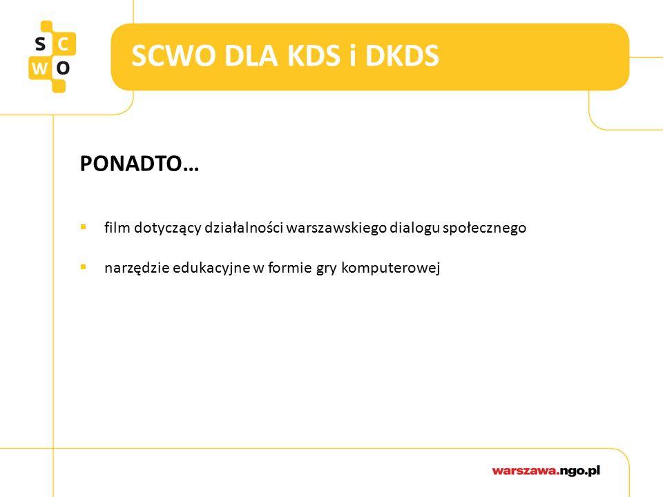 SCWO DLA KDS i DKDS PONADTO…  film dotyczący działalności warszawskiego dialogu społecznego  narzędzie edukacyjne w formie gry komputerowej