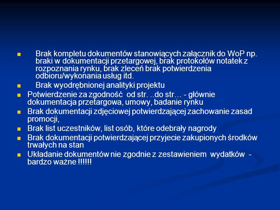Brak kompletu dokumentów stanowiących załącznik do WoP np.
