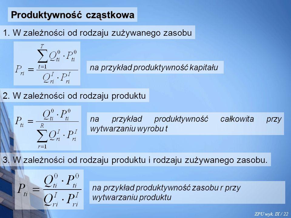 ZPU wyk. IX / 22 Produktywność cząstkowa 1.