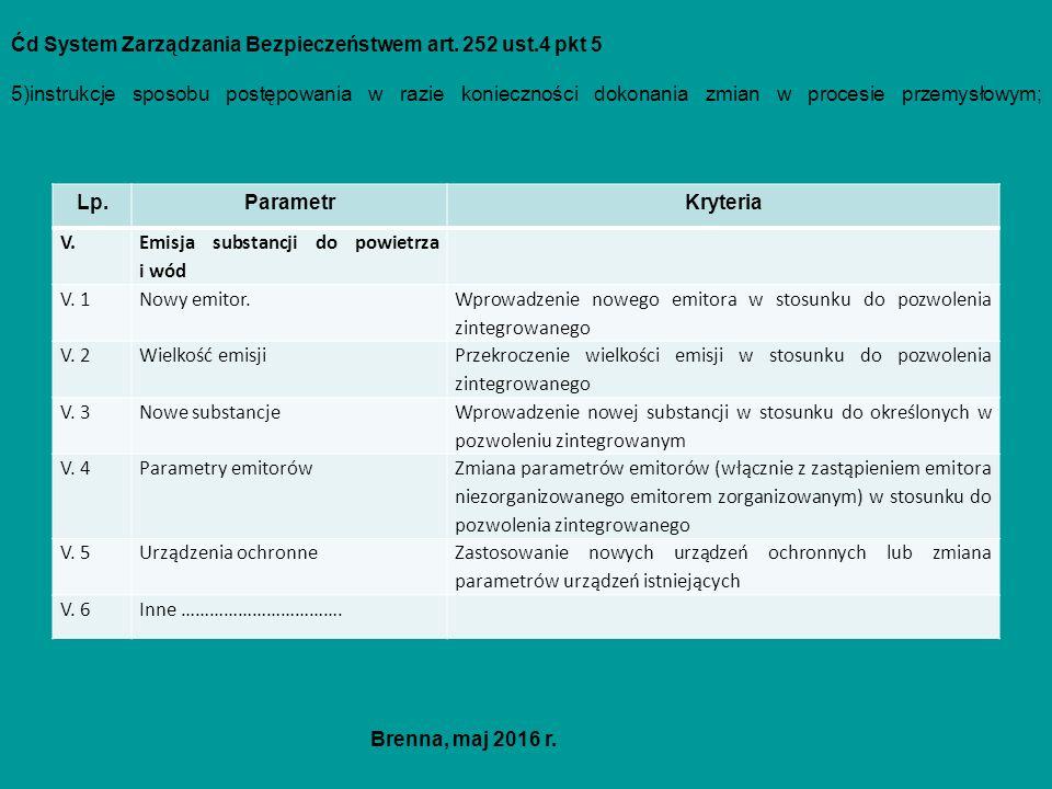 Ćd System Zarządzania Bezpieczeństwem art. 252 ust.4 pkt 5 5)instrukcje sposobu postępowania w razie konieczności dokonania zmian w procesie przemysło