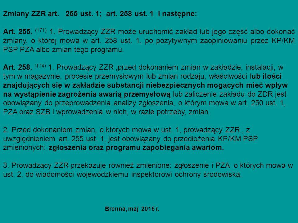 Zmiany ZZR art. 255 ust. 1; art. 258 ust. 1 i następne: Art. 255. (171) 1. Prowadzący ZZR może uruchomić zakład lub jego część albo dokonać zmiany, o