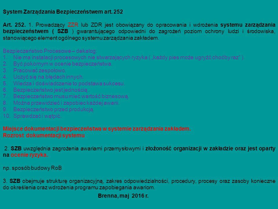 System Zarządzania Bezpieczeństwem art. 252 Art. 252. 1. Prowadzący ZZR lub ZDR jest obowiązany do opracowania i wdrożenia systemu zarządzania bezpiec