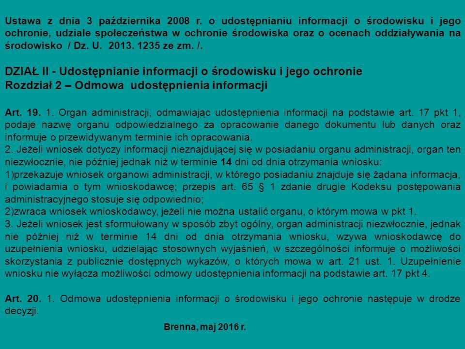 Ustawa z dnia 3 października 2008 r. o udostępnianiu informacji o środowisku i jego ochronie, udziale społeczeństwa w ochronie środowiska oraz o ocena