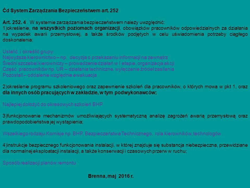 Ćd System Zarządzania Bezpieczeństwem art. 252 Art. 252. 4. W systemie zarządzania bezpieczeństwem należy uwzględnić: 1)określenie, na wszystkich pozi