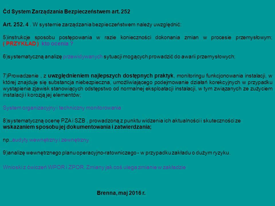 Ćd System Zarządzania Bezpieczeństwem art. 252 Art.