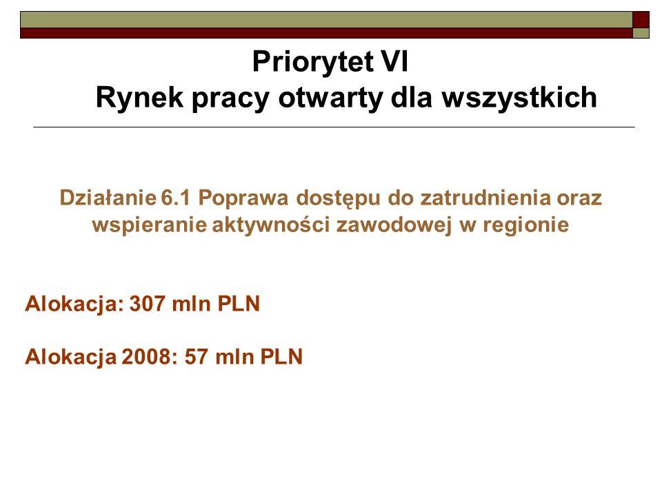 Priorytet VI Rynek pracy otwarty dla wszystkich Działanie 6.1 Poprawa dostępu do zatrudnienia oraz wspieranie aktywności zawodowej w regionie Alokacja: 307 mln PLN Alokacja 2008: 57 mln PLN