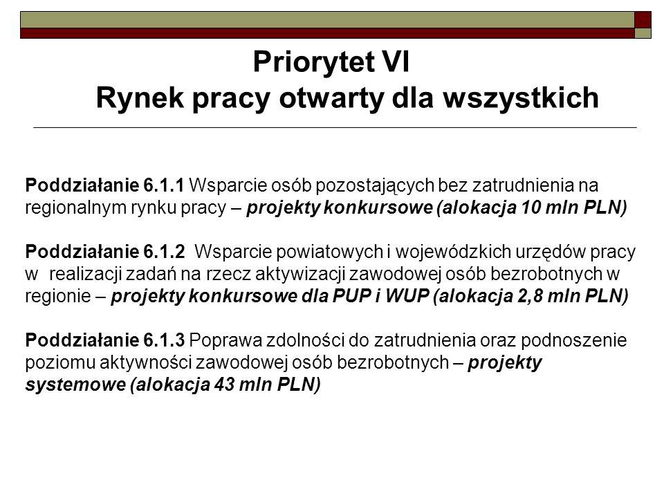 Priorytet VI Rynek pracy otwarty dla wszystkich Poddziałanie 6.1.1 Wsparcie osób pozostających bez zatrudnienia na regionalnym rynku pracy – projekty konkursowe (alokacja 10 mln PLN) Poddziałanie 6.1.2 Wsparcie powiatowych i wojewódzkich urzędów pracy w realizacji zadań na rzecz aktywizacji zawodowej osób bezrobotnych w regionie – projekty konkursowe dla PUP i WUP (alokacja 2,8 mln PLN) Poddziałanie 6.1.3 Poprawa zdolności do zatrudnienia oraz podnoszenie poziomu aktywności zawodowej osób bezrobotnych – projekty systemowe (alokacja 43 mln PLN)