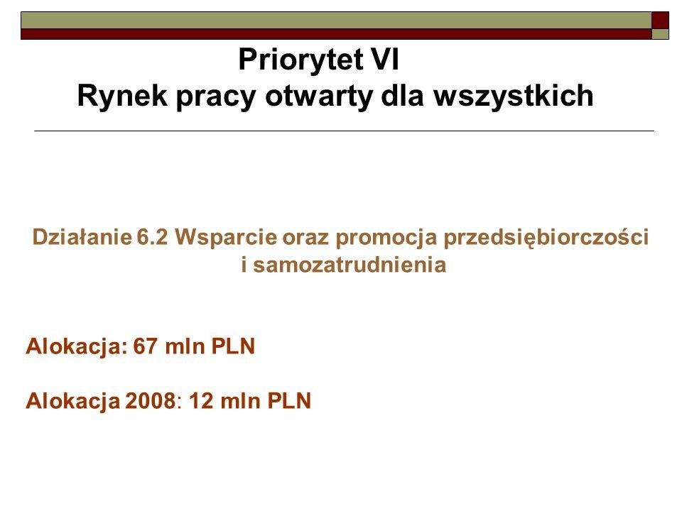 Priorytet VI Rynek pracy otwarty dla wszystkich Działanie 6.2 Wsparcie oraz promocja przedsiębiorczości i samozatrudnienia Alokacja: 67 mln PLN Alokac