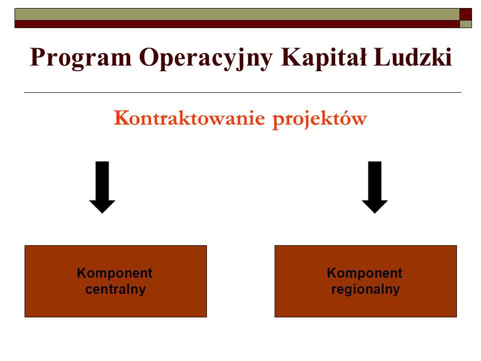 Program Operacyjny Kapitał Ludzki Procentowy poziom finansowania Źródło: strona www.mrr.gov.pl – PO KL po negocjacjachwww.mrr.gov.pl 33,8% 62,2 % Komponent centralnyKomponent regionalny 4% (PT)