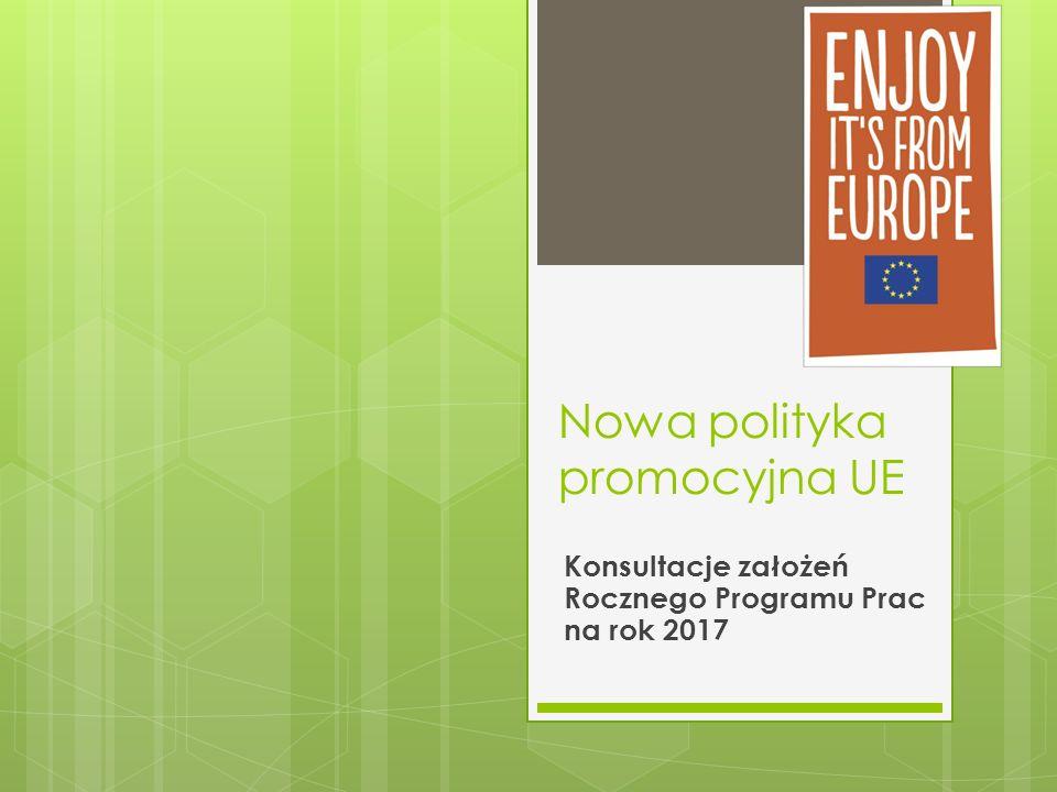 Nowa polityka promocyjna UE Konsultacje założeń Rocznego Programu Prac na rok 2017
