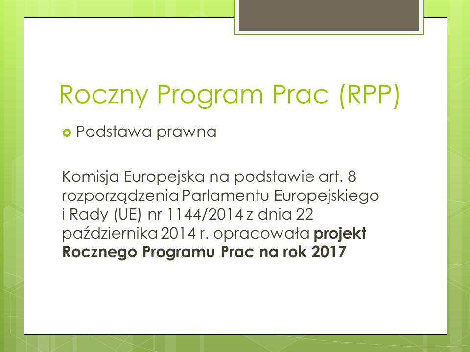Roczny Program Prac (RPP)  Podstawa prawna Komisja Europejska na podstawie art.