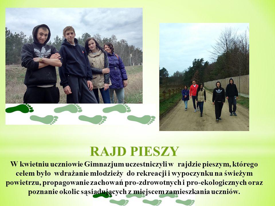RAJD PIESZY W kwietniu uczniowie Gimnazjum uczestniczyli w rajdzie pieszym, którego celem było wdrażanie młodzieży do rekreacji i wypoczynku na świeżym powietrzu, propagowanie zachowań pro-zdrowotnych i pro-ekologicznych oraz poznanie okolic sąsiadujących z miejscem zamieszkania uczniów.