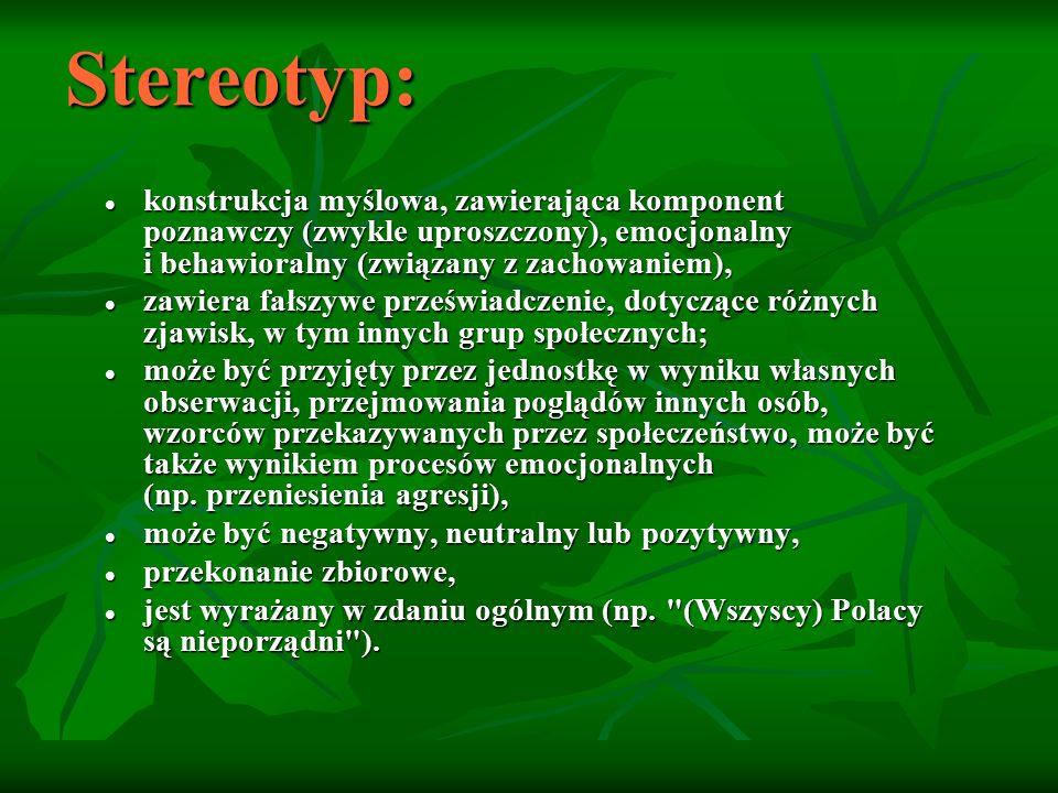 Stereotyp to fałszywe i niedostatecznie uzasadnione, a dotyczące pewnej grupy osób (tzw.