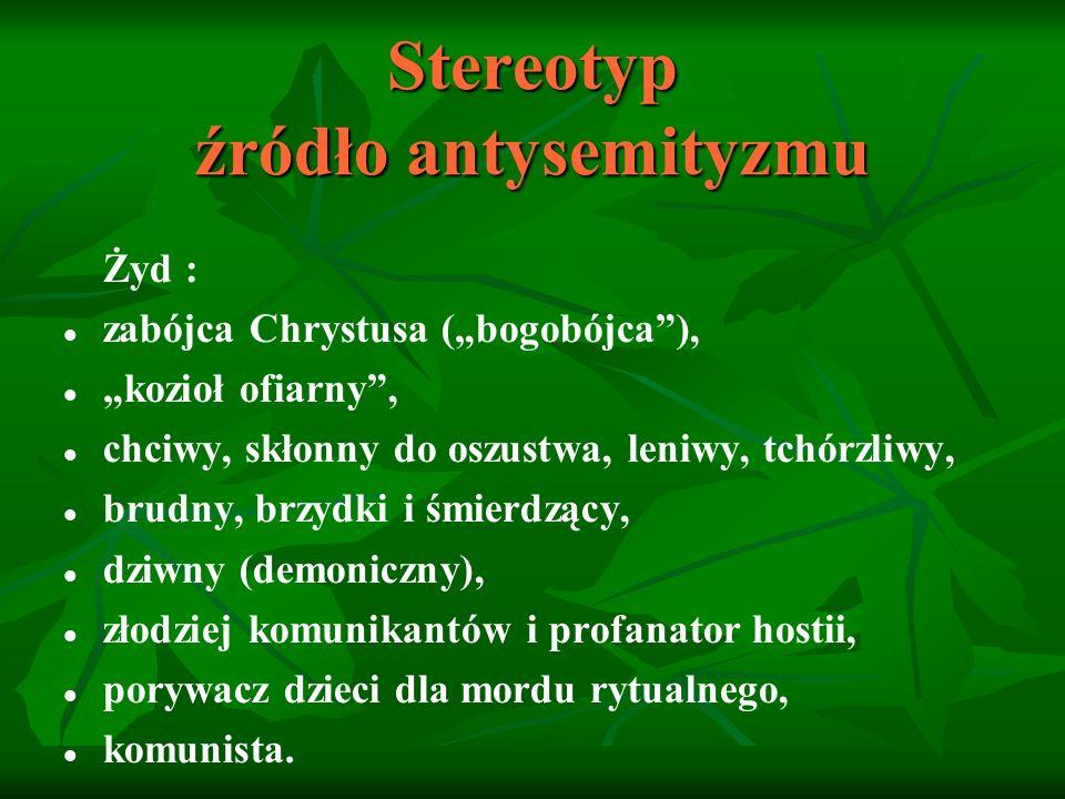 Stereotyp źródło antysemityzmu Żyd: pobożny, cierpliwy, mądry, ostrożny, bogaty kupiec, handlarz, bankier, karczmarz.