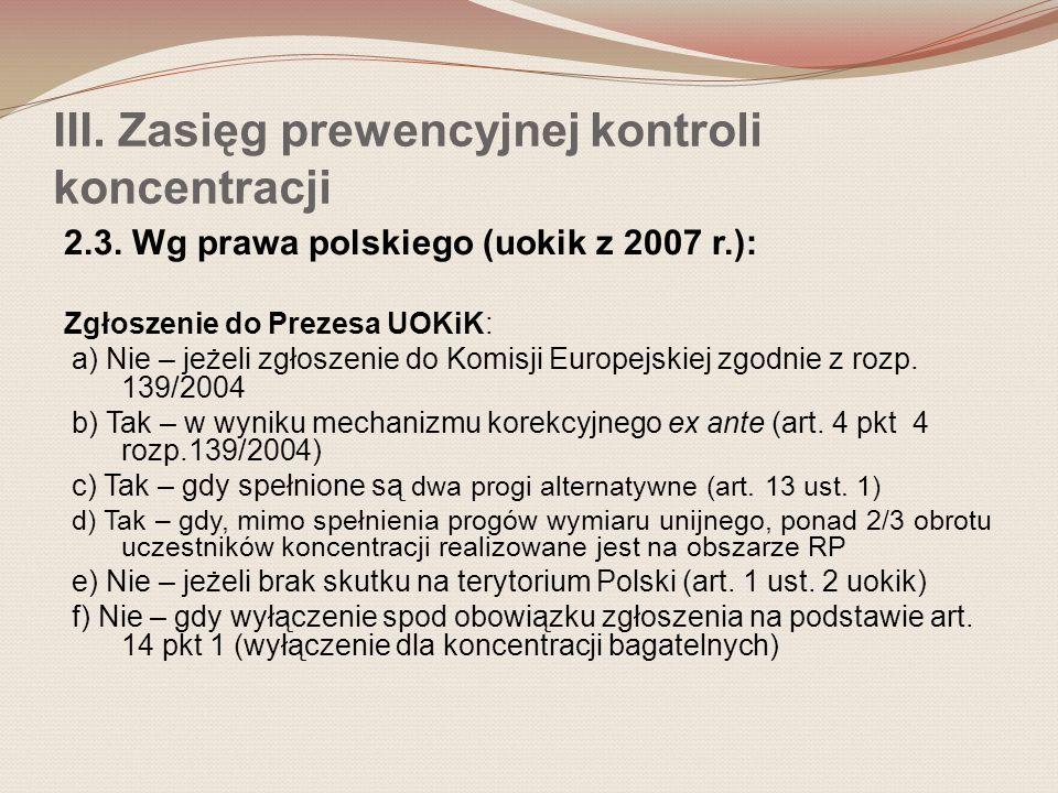 III. Zasięg prewencyjnej kontroli koncentracji 2.3.