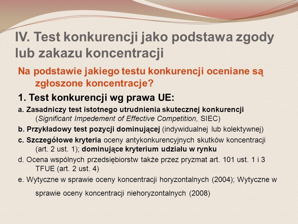 IV. Test konkurencji jako podstawa zgody lub zakazu koncentracji Na podstawie jakiego testu konkurencji oceniane są zgłoszone koncentracje? 1. Test ko