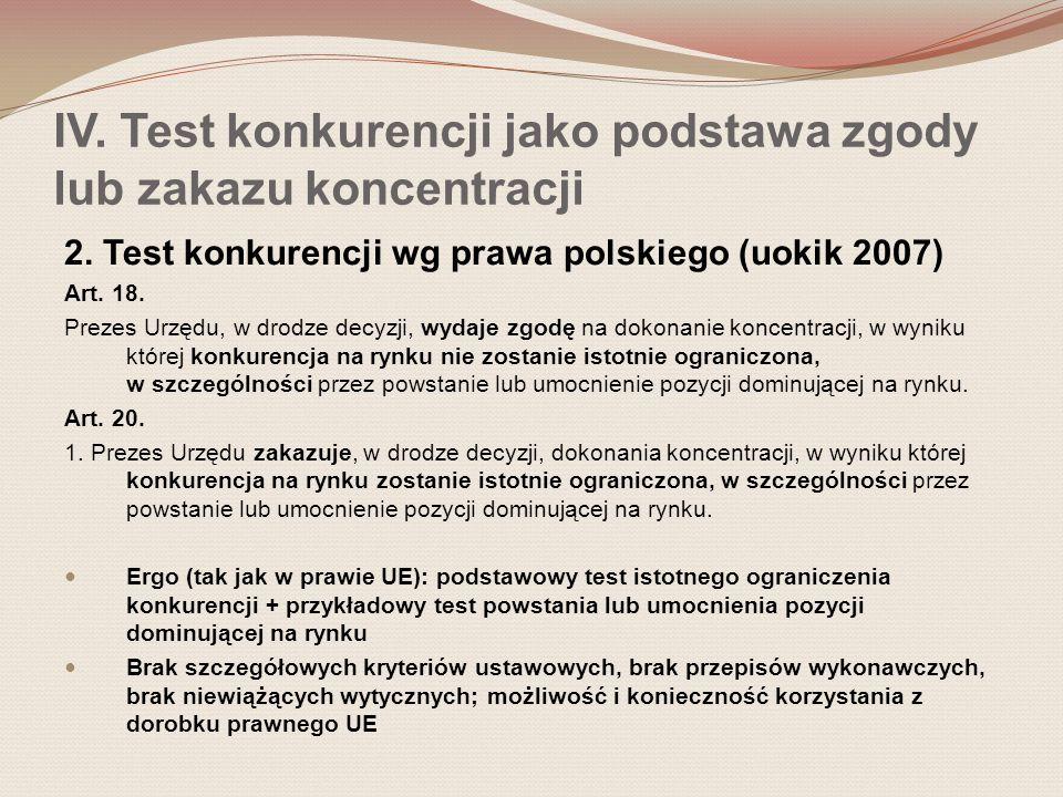 IV. Test konkurencji jako podstawa zgody lub zakazu koncentracji 2. Test konkurencji wg prawa polskiego (uokik 2007) Art. 18. Prezes Urzędu, w drodze