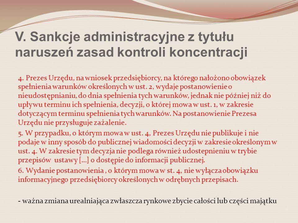 V. Sankcje administracyjne z tytułu naruszeń zasad kontroli koncentracji 4. Prezes Urzędu, na wniosek przedsiębiorcy, na którego nałożono obowiązek sp
