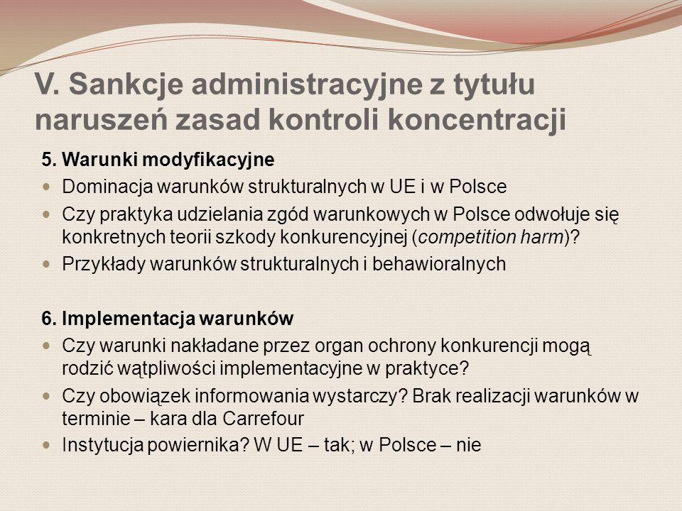 V. Sankcje administracyjne z tytułu naruszeń zasad kontroli koncentracji 5.