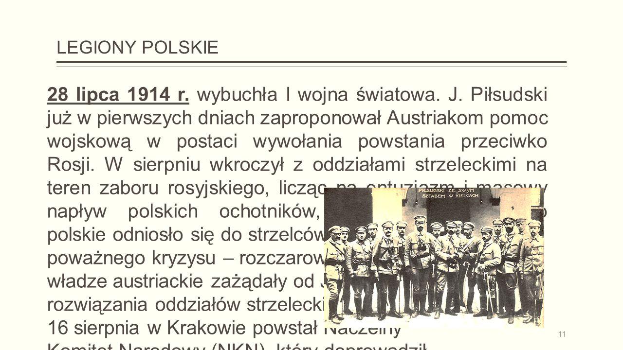 LEGIONY POLSKIE 28 lipca 1914 r. wybuchła I wojna światowa.