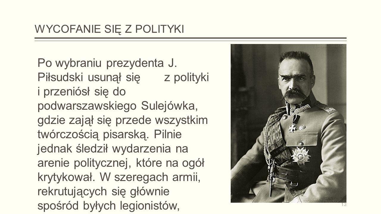 WYCOFANIE SIĘ Z POLITYKI Po wybraniu prezydenta J.